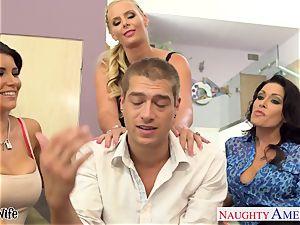 insane stunners Jessica Jaymes, Romi Rain and Phoenix Marie share fuckpole