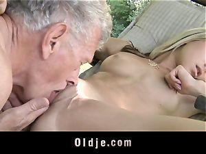 crazy blonde tempts senior stud to pummel