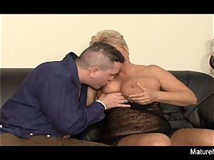 Mature blonde needs two boners to be satiated