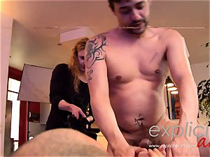 big-titted French nubile in a insane threeway dp