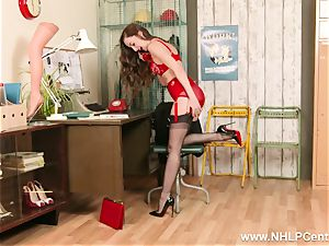 black-haired on phone in retro undergarments nylon high stilettos