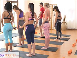 FitnessRooms group yoga session concludes with a creampie