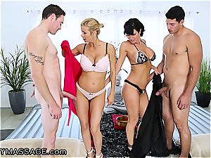 voluptuous massage by two super-naughty milfs completes with ample facials