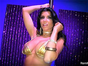 Romi Rain gets horny on the stripper pole