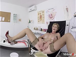 huge-boobed grannie gets point of view torn up by her doctor