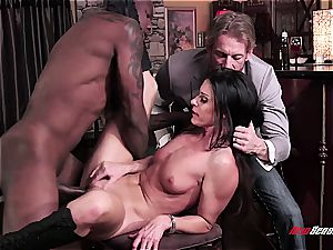 red-hot wife India Summer ejaculating on a dark-hued shaft