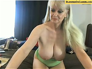 towheaded mature goes all naughty in all fuckholes on cam