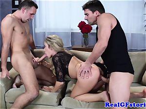 sizzling blondie buxom cougar threesome ravage