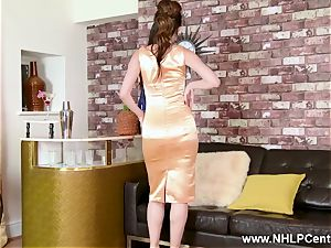 wondrous brown-haired strips to retro nylons high-heeled slippers and undergarments