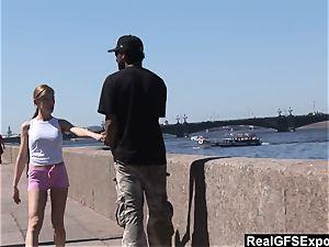 Russian platinum-blonde Olga meets bbc while jogging