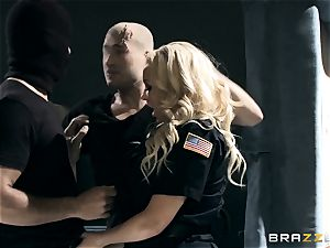 warm cop Summer Brielle drool roasted by 2 criminals