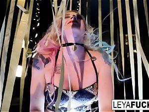 splendid Leya Falcon unclothes at a gold glazed de-robe club