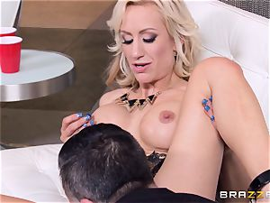 Zoey Portland gets this fat manstick doing party tricks