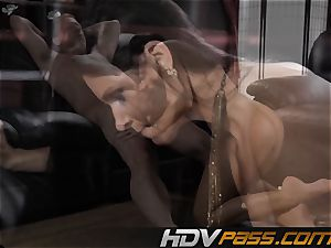 dark-haired babe India Summer drills with lust in livingroom