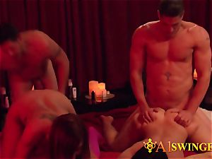 huge-titted swinger wife celebrates her man�s birthday with a wag party