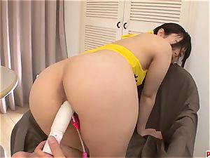 Hina Maeda enjoys fucktoys down her crevasses in such hot sol