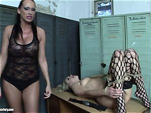 Mandy Bright bound a steaming girl in net tights