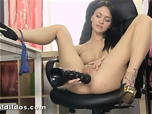 small Belle Claire cooter spreading with fierce fake penis