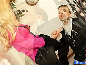 mass ejaculation liking lesbian sopping by strap-on