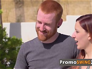 Brett and Laura sense jittery but sexually aroused to have a total swap