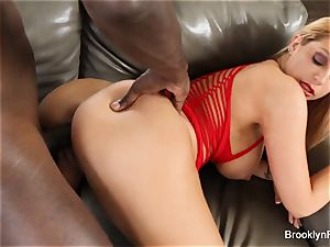 Brooklyn takes a big black cock on the couch