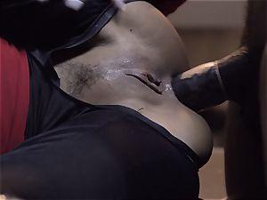 Suicide team parody Sn 4 Ada Akira railing dark-hued jizz-shotgun