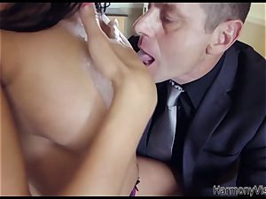 busty black-haired babe gets her caboose and slit plumbed firm