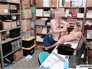 Shoplifter Emma Hix gets fuck in the office by LPs man-meat