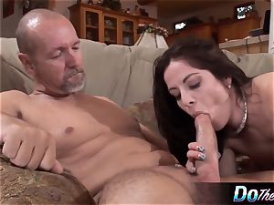 husband watches wife take yam-sized man rod