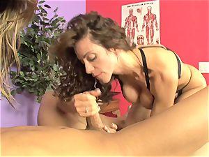 Ariella Ferrera and molten honey inhaling a rock hard jizz-shotgun
