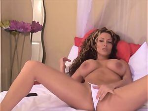 stellar Latina female with big knockers in Uniform stripping giant baps