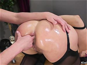 ash-blonde takes clyster and ass-fuck fake penises