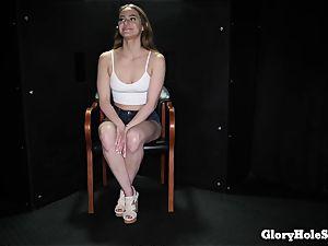 teenage lady slurping gloryhole cum from strangers