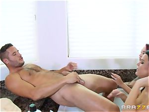 Maid Peta Jensen washes the cootchie of Monique Alexander and gets cooch thrashed by Danny Mountain