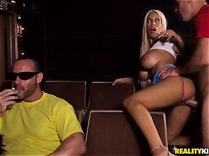 Cinema trouser snake blowing huge-chested Bridgette B