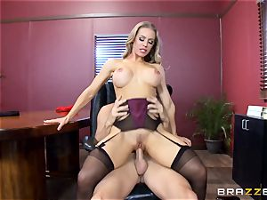 red-hot manager Nicole Aniston taking a enormous pink cigar in the office