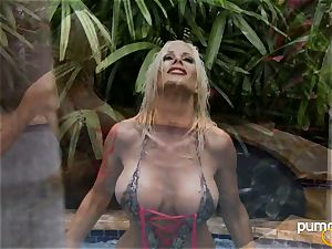 Puma Swede super-hot babe smoking while in the pool