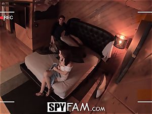 SPYFAM nosey Step sister salivates over wood pics