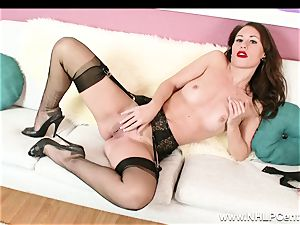 stunner disrobes off black lacy lingerie to jack in nylons