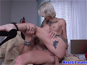 Tattood real light-haired milf romped in arse