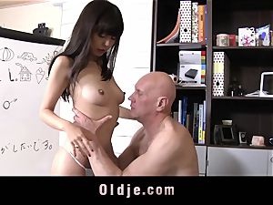 super-cute chinese student Gets old instructor fuck jizz guzzling