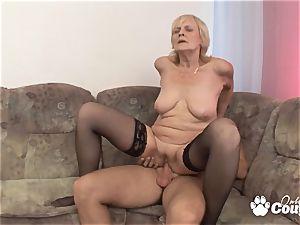 Mature blonde fucking and gets facial cumshot