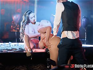 Monster pink cigar for 2 lusty longing honies Abigail Mac and Nicolette Shea