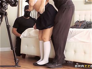 student Noelle Easton taunted by two masked guys