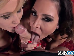 Jessica Jaymes and Julia Ann throating pecker