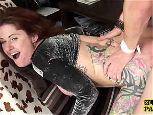 tattooed brit sub dominated with anal