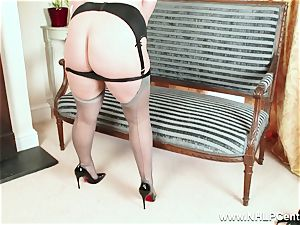 bootylicious blonde jacks in grey nylons and high high-heeled shoes