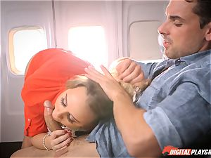 crazy stewardess Alexis Adams pulverizing with the passengers